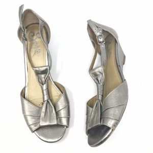 SEYCHELLES Metallic Open Peep Toe Wedge Sandals 7